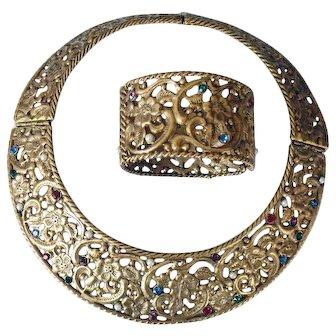 Cleopatra Hinged Collar & Bracelet Set