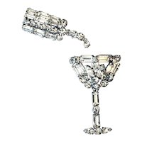 Vintage Rhinestone Martini Glass with Matching Shaker Pins