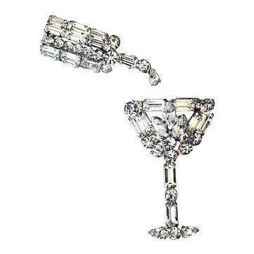 Vintage Rhinestone Martini Glass with Matching Shaker Pins