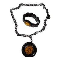 Black Bakelite & Reverse Carved Apple Juice Necklace & Bracelet Set