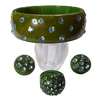Green Marbled Bakelite Blue Rhinestone Set