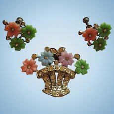 1940s Flower Clip & Earring Set