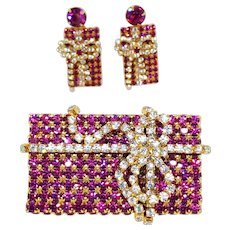 3 Dimensional Christmas Present Pin & Earrings