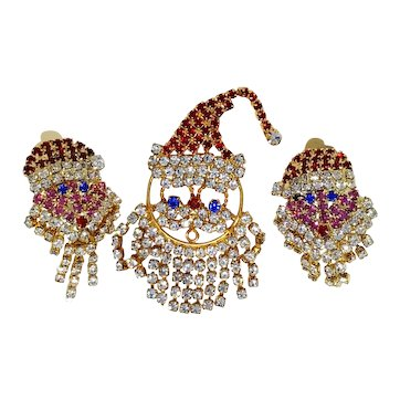 Santa Claus Rhinestone Fringe Pin & Earrings