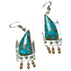 Mohave Turquoise earrings set in Sterling