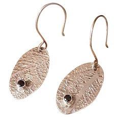 Leaf Patterned Sterling earrings set with 3mm Black Spinel