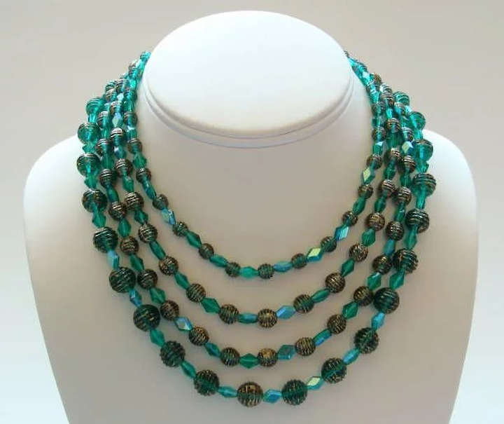 63a5cb2b2c36a Alice Caviness Green & Gold Glass Bead Necklace—4 Shimmering Strands!