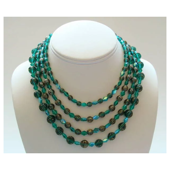 Alice Caviness Green & Gold Glass Bead Necklace—4 Shimmering Strands!