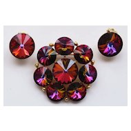 Weiss Rivoli Rhinestone Brooch Pin & Earrings--Fuchsia Pink, Violet, Green