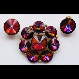 Weiss Rivoli Rhinestone Brooch Pin & Earrings--Fuchsia Pink, Violet, Green