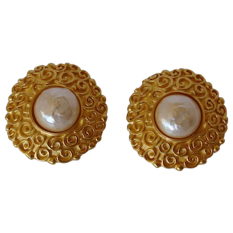 Karl Lagerfeld Gold & Faux Pearl Clip Earrings