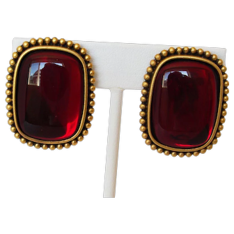 YSL Yves Saint Laurent Big Red Glass Cabochon & Gold-Tone Metal Clip Earrings