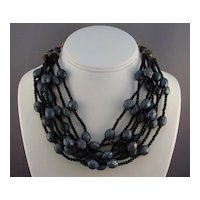 Carnival Glass Color Lava Rock Plastic Beads Torsade Necklace