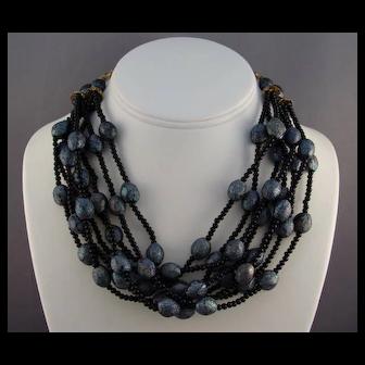 Carnival Glass Color Lava Rock Plastic Beads Torsade Necklace