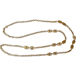 Crown Trifari Long Gold Color Metal Chain Necklace--55 Inches!