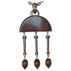 Florenza Boho Wood & Silver Color Metal Pendant Necklace