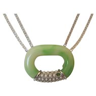 Lanvin Modernist Green & White Lozenge Pendant Necklace on Silver Color Chain