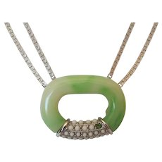Lanvin Modernist Green & White Lozenge Pendant Necklace on Silver Color Chain