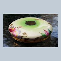 """T & V Limoges France 1900's Hand Painted Floral 4-7/8"""" Dresser Box by Stouffer Studios of Chicago"""