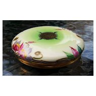 "T & V Limoges France 1900's Hand Painted Floral 4-7/8"" Dresser Box by Stouffer Studios of Chicago"