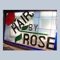 """Wonderful Vintage St. Louis 1930's Barbershop """"Hair by Rose"""" 55"""" X 35"""" Scenic Stain Glass Sign"""