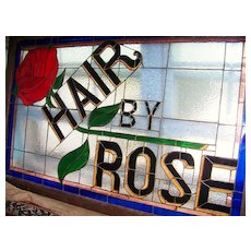 "Wonderful Vintage St. Louis 1930's Barbershop ""Hair by Rose"" 55"" X 35"" Scenic Stain Glass Sign"