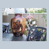 "Large 17-1/8"" Rick Wisecarver Wihoa's Art Pottery Hand Carved ""Special"" High Relief ""Barrel Maker"" Scenic Vase SIGNED"