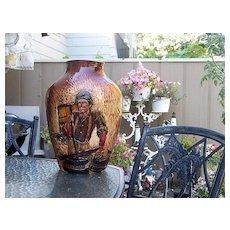 "Large 17-1/8"" Wihoa's Art Pottery Hand Carved ""Special"" Rick Wisecarver High Relief ""Barrel Maker"" Scenic Vase SIGNED"