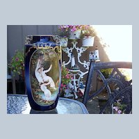 """Incredible 12-7/8"""" Elite France Limoges 1900's Hand Painted """"Three Nudes Frolicking in A Grotto Pool"""" Scenic Cobalt Vase"""