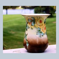 """Bavaria 1930's Hand Painted """"Yellow Roses"""" Flared 4-3/4"""" Vase by Artist, """"Nellie Cullen Loewy"""""""