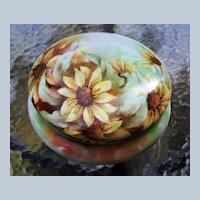 """Large Bavaria 8"""" 1900's Hand Painted """"Sunflower"""" Dresser Box Casket by Artist, """"Marguerite Seidelman"""""""