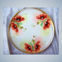 """Fabulous Bavaria 1900's Hand Painted """"Burnt Orange Poppies"""" 8-1/2"""" Plates by Pickard Artist, """"Edward Mentges"""""""