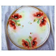 "Fabulous Bavaria 1900's Hand Painted ""Burnt Orange Poppies"" 8-1/2"" Plates by Pickard Artist, ""Edward Mentges"""