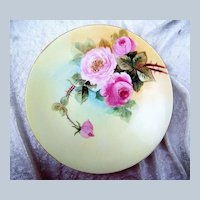 """J.P.L. France Limoges 1900's Hand Painted """"Red & Pink Roses"""" 9"""" Plate"""