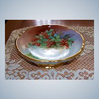 """Exceptionally Decorated Germany & Burley & Co 1900's Hand Painted """"Red Currant"""" 8-5/8"""" Pedestal Fruit Bowl"""