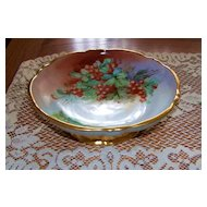 "Exceptionally Decorated Germany & Burley & Co 1900's Hand Painted ""Red Currant"" 8-5/8"" Pedestal Fruit Bowl"