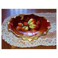 "Outstanding 1910 Julius H. Brauer Studio of Chicago Hand Painted ""Red Strawberries"" 9-1/8"" Pedestal Flared Fruit Bowl by Artist, ""Kammermayer"""