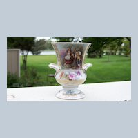 """Scarce RS Prussia 1900's """"Scenic Romancing Couple"""" 3-5/8"""" Vase"""