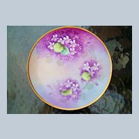 """Vintage 1900's Bavaria Hand Painted """"Deep Violets"""" 8-1/4"""" Plate by the Artist, """"H.M."""""""