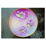 "Vintage 1900's Bavaria Hand Painted ""Deep Violets"" 8-1/4"" Plate by the Artist, ""H.M."""