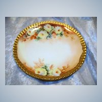 """Attractive T & V Limoges France 1900's Hand Painted """"Yellow Roses"""" Floral Plate"""