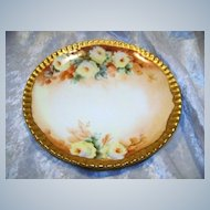 "Attractive T & V Limoges France 1900's Hand Painted ""Yellow Roses"" Floral Plate"