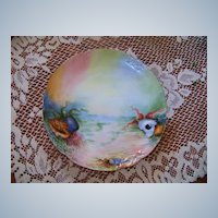 """1900's Limoges France Hand Painted """"Sea Life"""" 8-3/8"""" Plate by the Artist, """"E.K."""""""