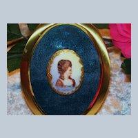 "Vintage Limoges France 1900 Hand Painted ""Lady Portrait"" 2-1/4"" Framed Cameo Pendant"