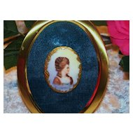 "Vintage Limoges France 1900 Hand Painted ""Lady Portrait"" 2-1/4"" Framed Cameo Pendant"