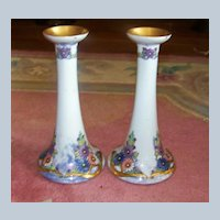"""Czechoslovakia 1924 Hand Painted """"Art Deco Enamel Style Daisies"""" 8-1/4"""" Candlestick Holder by Artist, """"Adele Horn"""""""