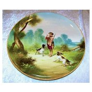 "Large & Impressive France 1875--80's Hand Painted ""Hunt Scene"" 14-1/4"" Plaque by the French Artist, "" V. Bimet"""
