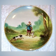 "Outstanding & Large France 1875--80's Hand Painted ""Hunt Scene"" 14-1/4"" Plaque by the French Artist, "" V. Bimet"""