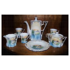 "Scarce RS Prussia 1900's Scenic ""Snowbird"" 12 Pc. Childs Tea Set"