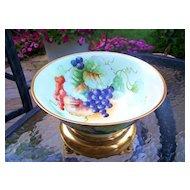 "Wonderful 1900's Favorite Bavaria Hand Painted ""Purple & Red Grapes"" 9-7/8"" Pedestal Fruit Bowl"